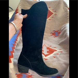 Boots, knee high Suede, Black, 9, Western style